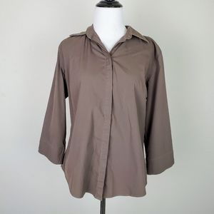 F by Faconnable Brown Button Down Shirt Blouse